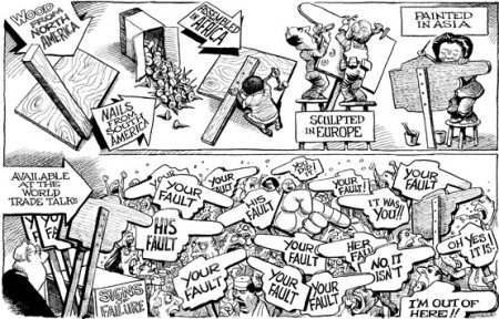 Finger pointing ...  |  Economist cartoon by KAL on 08-08-03; Source & courtesy - adamsmith.wordpress.com  |  Click for image.