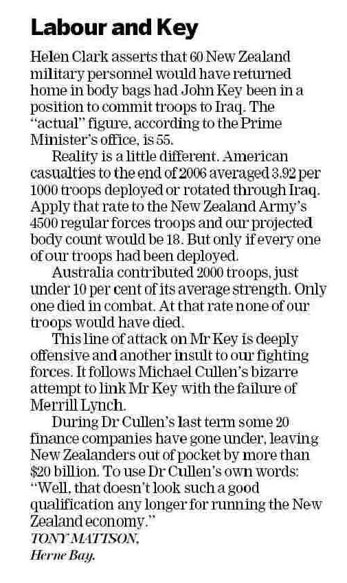 NZ Herald Letters to the Editor 20 September 2008
