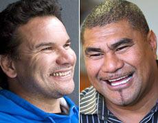 Rugby legends Michael Jones and Inga Tuigamala