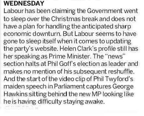 John Armstong -Political Diary - NZ Herald 17 January