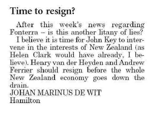 Letters to the Editor - Waikato Times - 10 January