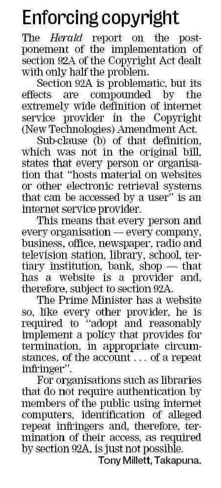 Enforcing Copyright - NZ Herald - 25 February