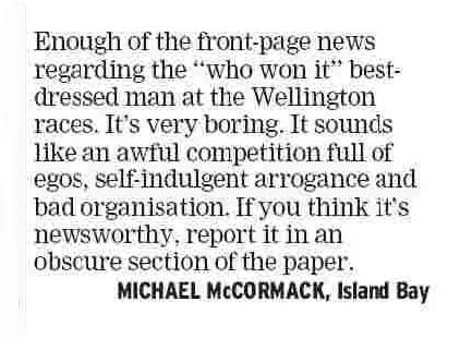Letters to the Editor - Dominion Post - 4 February