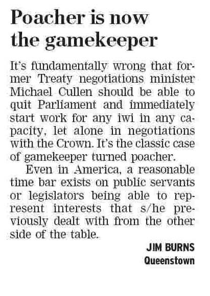 Letter to the Editor - Dominion Post - 5 March