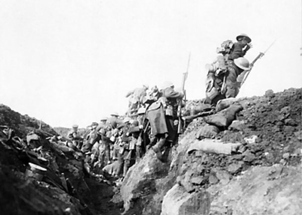 British troops 'Go Ove The Top' in WWI