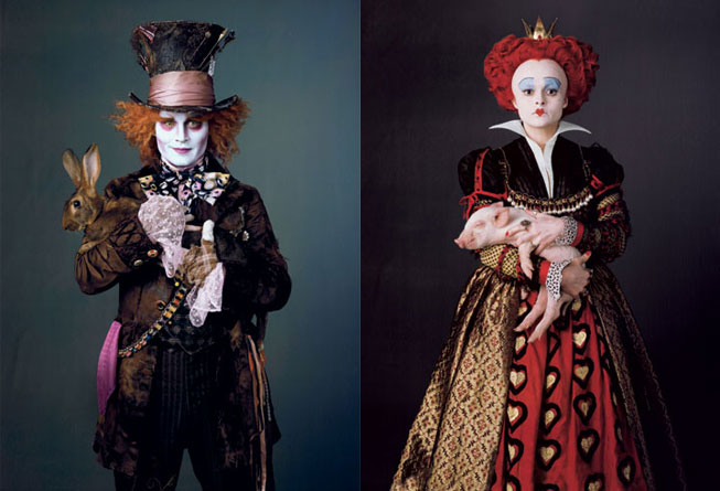 Johnny Depp - Mad Hatter, Helena Bonham-Carter - Red Queen, in Tim Burton's