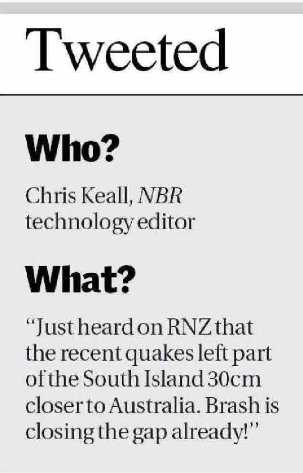 Chris Keall  - Tweeting, When?