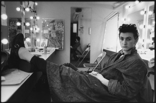 Sean Penn in his dressing room for the Broadway play Slab Boys, Manhattan, 1983.