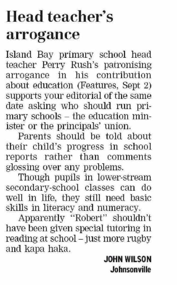 Letters to the Editor - DominionPOst - 5 September