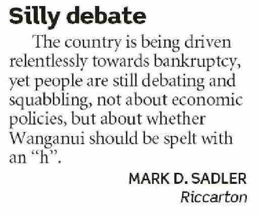 Letters to the Editor - The Press - 12 September